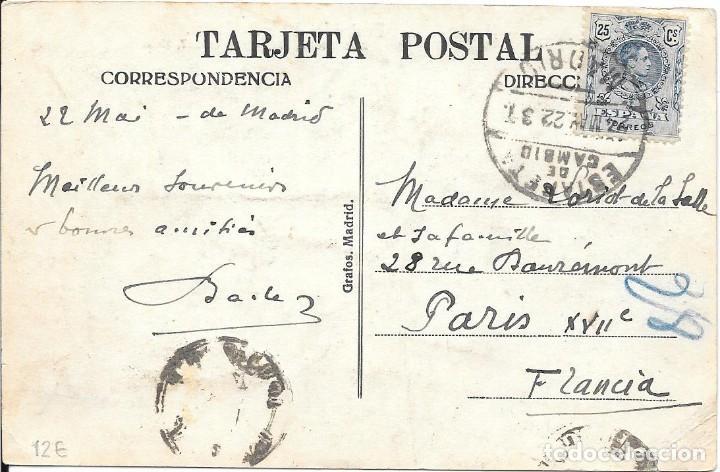 EDIFIL 274. DE MADRID A PARIS. 1922. RARO MATASELLOS DE LA ESTAFETA DE CAMBIO (Sellos - Historia Postal - Sello Español - Sobres Circulados)