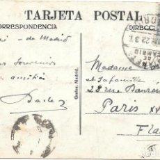 Sellos: EDIFIL 274. DE MADRID A PARIS. 1922. RARO MATASELLOS DE LA ESTAFETA DE CAMBIO. Lote 217470066