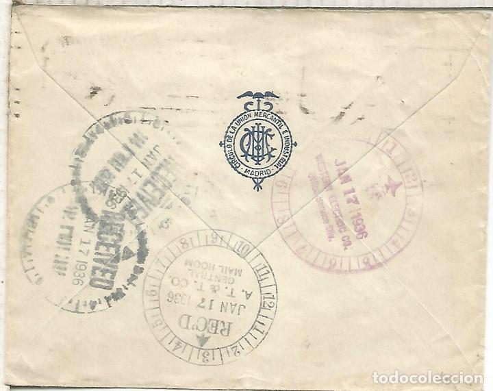 Sellos: SEGUNDA REPUBLICA CC A USA CON MARCAS DE ENCAMINAMIENTO DENTRO DE UN EDIFICIO 1936 - Foto 2 - 217934872