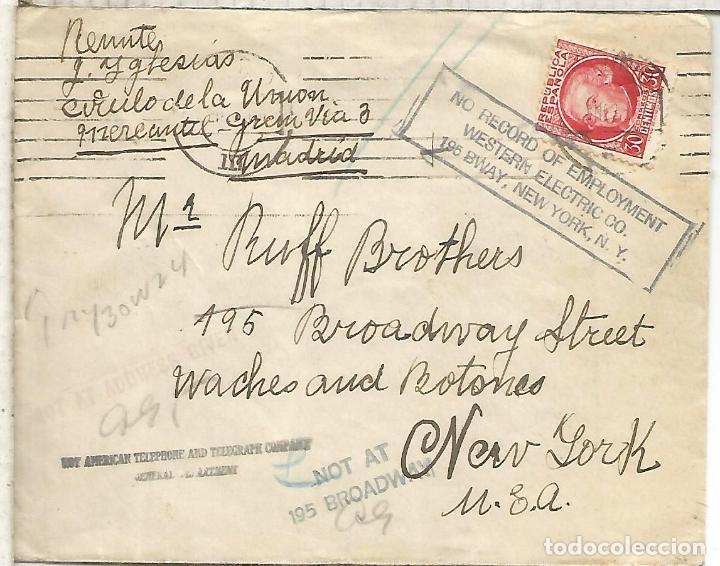 SEGUNDA REPUBLICA CC A USA CON MARCAS DE ENCAMINAMIENTO DENTRO DE UN EDIFICIO 1936 (Sellos - Historia Postal - Sello Español - Sobres Circulados)