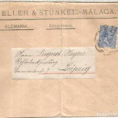 Sellos: ESPAÑA MALAGA CC A ALEMANIA LEIPZIG SELLO PELON ALFONSO XIII IMPRESOS. Lote 218115618