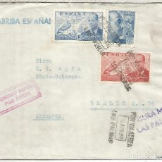 Sellos: CANARIAS LAS PALMAS CC A BERLIN 1939 MAT AEREO CON CENSURA MILITAR A AGFA FOTOGRAFIA SANCHEZ TODA. Lote 218116482