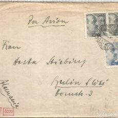 Sellos: MADRID CC A BERLIN 1945 MAT CORREO AEREO CON CENSURA MILITAR MADRID Y ALEMANA DE MUNICH. Lote 218116697