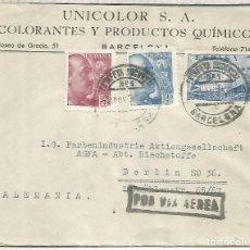Sellos: BARCELONA CC A BERLIN 1939 CORREO AEREO SELLOS FRANCO PERFIL MAT ESTAFETA 1. Lote 218117427