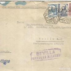 Sellos: SEVILLA CC A BERLIN 1937 CORREO AEREO SELLOS ISABEL Y PRO SEVILLA AVION VIA SALAMANCA MARSELLA CON. Lote 218117585