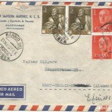 Sellos: MURCIA CC A ALEMANIA CON MAT BARRIO DEL CARMEN 1963 ARTE RELIGION RIBERA. Lote 218117777