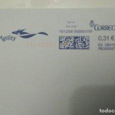 Sellos: FRANQUEO MECÁNICO, AGILITY 15/12/08, 0,31 € SOBRE ENTERO. Lote 221416045