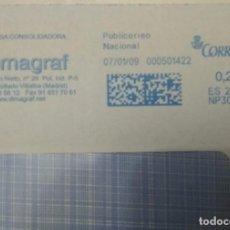 Sellos: FRANQUEO MECÁNICO DIMAGRAF 07/01/09 0,28 €, SOBRE ENTERO. Lote 221416312
