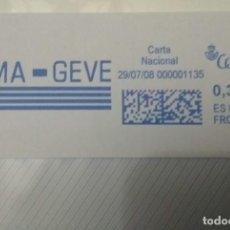 Sellos: FRANQUEO MECÁNICO BAMA-GEVE 29/07/08 0,31 € SOBRE ENTERO. Lote 221418013