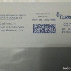 Sellos: FRANQUEO MECÁNICO PUBLINOVA GRANADA 07/11/08 0,27 € SOBRE ENTERO. Lote 221419121