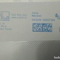 Sellos: FRANQUEO MECÁNICO UNI POST 04/12/08 0,31 € SOBRE ENTERO. Lote 221419206