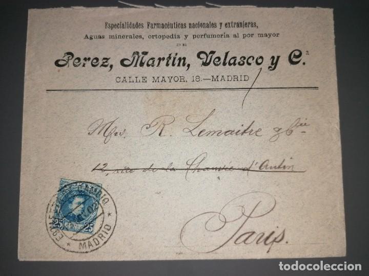 CARTA, MATASELLOS ESTAFETA DE CAMBIO MADRID 13 NOV 1902 (Sellos - Historia Postal - Sello Español - Sobres Circulados)