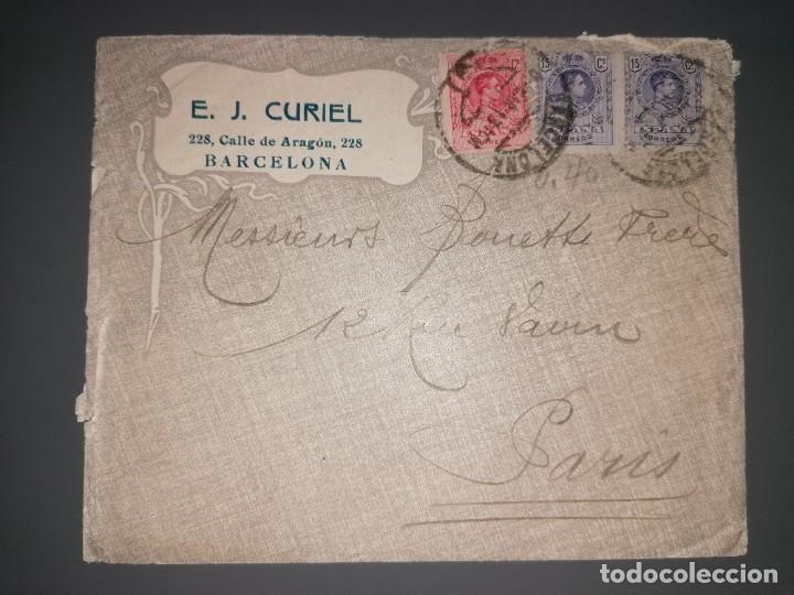 CARTA DE BARCELONA A PARÍS, SELLOS MEDALLÓN (Sellos - Historia Postal - Sello Español - Sobres Circulados)