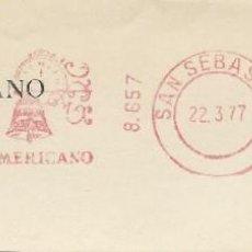 Sellos: 1977. SAN SEBASTIÁN. GUIPÚZCOA. FRANQUEO MECÁNICO. FRAGMENTO. METER CUT. BHA. MÁQ. 8657.. Lote 221868722