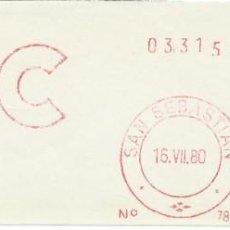 Sellos: 1980. SAN SEBASTIÁN. GUIPÚZCOA. FRANQUEO MECÁNICO. FRAGMENTO. METER CUT. CCC. MÁQ. 7854.. Lote 221869148