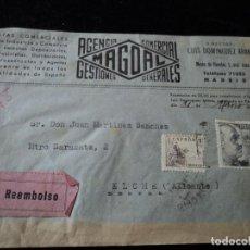 Sellos: REEMBOLSO AÑO 1945 - DE MADRID A ELCHE (ALICANTE). Lote 221870720