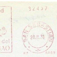 Sellos: 1978. SAN SEBASTIÁN. GUIPÚZCOA. FRANQUEO MECÁNICO. FRAGMENTO. METER CUT. BANCO BILBAO. MAQ. 4469.. Lote 221871637