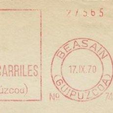 Sellos: 1970. BEASAÍN. GUIPÚZCOA. FRANQUEO MECÁNICO. FRAGMENTO. METER CUT. C.A. FERROCARRILES. MAQ. 740.. Lote 221874522