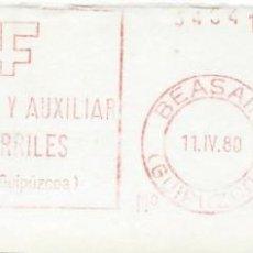 Sellos: 1980. BEASAÍN. GUIPÚZCOA. FRANQUEO MECÁNICO. FRAGMENTO. METER CUT. C.A. FERROCARRILES. MAQ. 740.. Lote 221874768