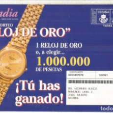Sellos: ESPAÑA SPAIN FRANQUEO PAGADO ARCADIA RELOJ DE ORO GOLD WATCH. Lote 222151025
