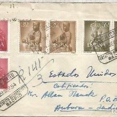 Sellos: MADRID CC CERTIFICADA A USA 1954 MARCA DESPUES DE LA SALIDA VIRGEN MONTSERRAT EL PILAR RELIGION. Lote 222471871