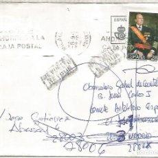 Sellos: MILAGRO NAVARRA CC A MADRID REEXPEDIDA Y DEVUELTA 1993 SELLO JUAN DE BORBON. Lote 222475713