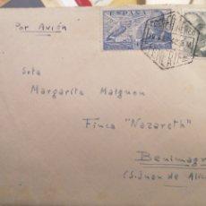 Sellos: TENERIFE CORREO AERO DE SAN JUAN ALICANTE AÑOS 40. Lote 222524437