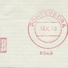 Sellos: 1979. PONTEVEDRA. FRANQUEO MECÁNICO. FRAGMENTO. METER CUT. BANCO DE BILBAO. MÁQUINA 6549.. Lote 222672432