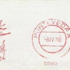 Sellos: 1980. PONTEVEDRA. FRANQUEO MECÁNICO. FRAGMENTO. METER CUT. MÁQUINA 5590.. Lote 222672652