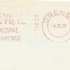 Sellos: 1978. ORENSE. FRANQUEO MECÁNICO. FRAGMENTO. METER CUT. BANCO CENTRAL. MÁQUINA 11803.. Lote 222672912