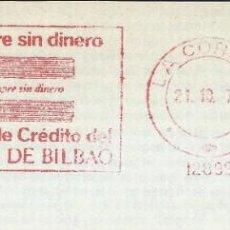 Sellos: 1978. CORUÑA. FRANQUEO MECÁNICO. FRAGMENTO. METER CUT. BANCO DE BILBAO. MÁQUINA 12899.. Lote 222675690