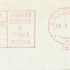 Sellos: 1979. CORUÑA. FRANQUEO MECÁNICO. FRAGMENTO. METER CUT. BANCO PASTOR. MÁQUINA 7908.. Lote 222676110