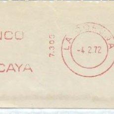 Sellos: 1972. CORUÑA. FRANQUEO MECÁNICO. FRAGMENTO. METER CUT. BANCO DE VIZCAYA. MÁQUINA 7309.. Lote 222676410