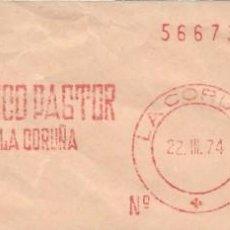 Sellos: 1974. CORUÑA. FRANQUEO MECÁNICO. FRAGMENTO. BANCO PASTOR. MÁQUINA 285.. Lote 222677531