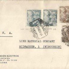 Sellos: BARCELONA CC A USA 1954 CON MAT CORREO AEREO SUCURSAL 1 SELLOS FRANCO PERFIL 2 PTS X 4 + 50 CTS X 2. Lote 222678121