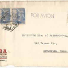 Sellos: BARCELONA CC A USA 1944 SELLOS FRANCO PERFIL DOBLE CENSURA ESPAÑOLA Y USA. Lote 222678361