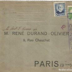 Sellos: SEGUNDA REPUBLICA CC A PARIS CON CENSURA 1937. Lote 222682117