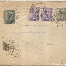 Sellos: BARCELONA A ITALIA 1941 CON CENSURA MILITAR SELLOS FRANCO DE PERFIL MAT ESTAFETA 7. Lote 222682507