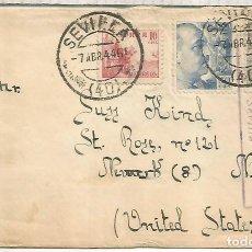 Sellos: SEVILLA A USA 1944 SELLOS FRANCO DE PERFIL Y DOBLE CENSURA ESCUELA AVIACION TABLADA. Lote 222682715