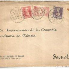 Sellos: MADRID CC URGENTE A TERUEL SELLOS ISABEL Y PEGASO CON CENSURA MILITAR AL DORSO. Lote 222682888