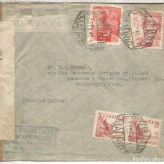 Sellos: MADRID A USA SELLOS FRANCO PERFIL CORREO AEREO CON DOBLE CENSURA MADRID Y USA 1941. Lote 222684922