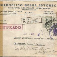 Sellos: BILBAO A USA SELLOS FRANCO PERFIL CORREO AEREO CON DOBLE CENSURA MADRID Y USA 1944. Lote 222685325
