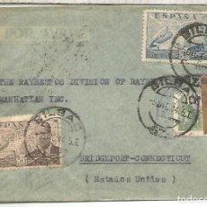 Sellos: BILBAO A USA SELLOS LA CIERVA CON TRIPLE CENSURA BILBAO MADRID Y USA CORREO AEREO. Lote 222685960
