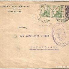 Sellos: BARCELONA A DINAMARCA CON SELLOS ISABEL Y CID CON CENSURA. Lote 222686070