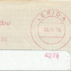 Francobolli: 1976. LLEIDA/LÉRIDA. FRANQUEO MECÁNICO. FRAGMENTO. BANCO ATLÁNTICO. MÁQUINA 4279.. Lote 225321510