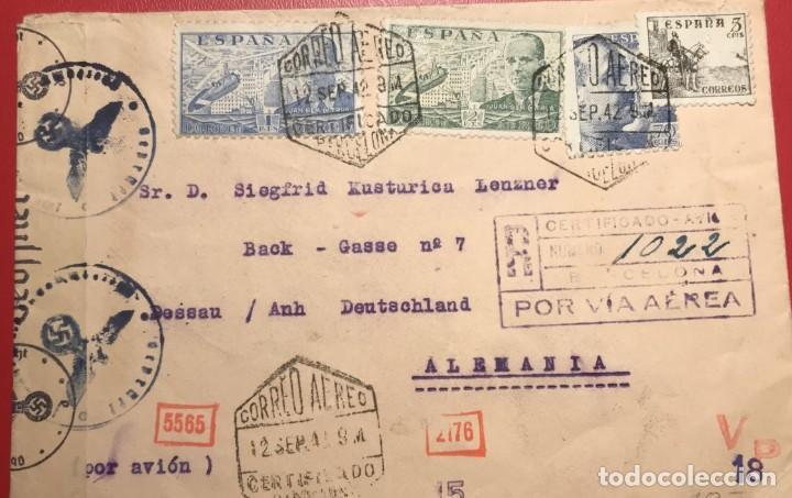CORREO AÉREO. CENSURA. CERTIFICADO. BARCELONA 1942 (Sellos - Historia Postal - Sello Español - Sobres Circulados)