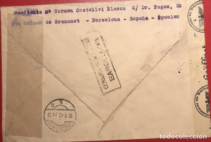 Sellos: CORREO AÉREO. CENSURA. CERTIFICADO. BARCELONA 1942 - Foto 2 - 231741095