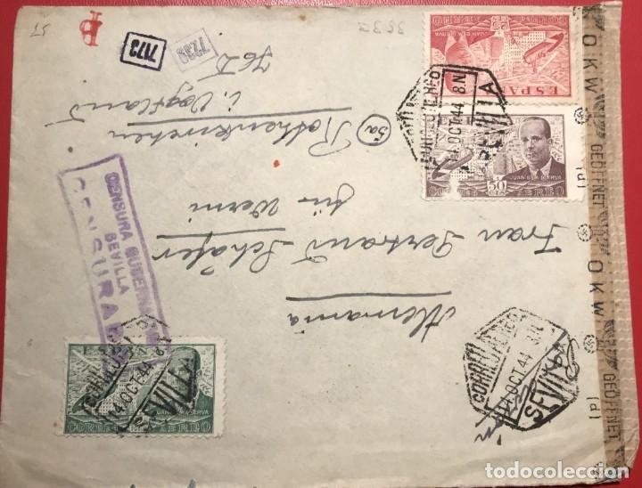 CORREO AEREO. CENSURA. SEVILLA 1944 (Sellos - Historia Postal - Sello Español - Sobres Circulados)