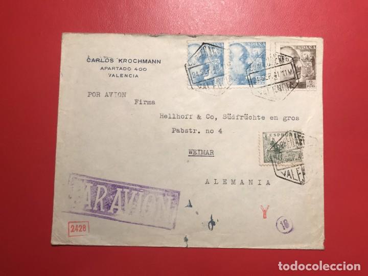 CORREO AÉREO, CENSURA. VALENCIA 1941 (Sellos - Historia Postal - Sello Español - Sobres Circulados)