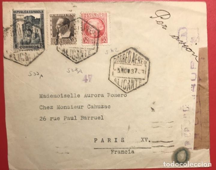 CORREO AÉREO. CENSURA RÉPUBLICA. ALICANTE. 1937. GUERRA CIVIL (Sellos - Historia Postal - Sello Español - Sobres Circulados)